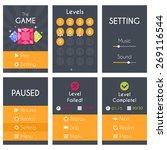 flat mobile game screens set....