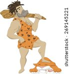 Illustration Of A Caveman With...