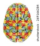 Stock photo brain model with jigsaw puzzle pattern representing autism 269166284