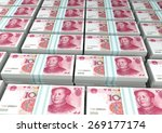 3d stack piles of china money | Shutterstock . vector #269177174