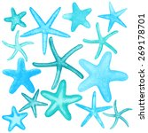 set of different starfish.... | Shutterstock .eps vector #269178701
