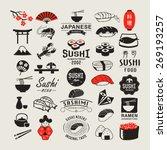 vector sushi logotypes set.... | Shutterstock .eps vector #269193257