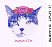 vector vintage fashion cat with ... | Shutterstock .eps vector #269195459