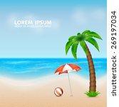 summer background. tropical sea ... | Shutterstock .eps vector #269197034