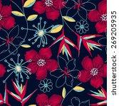 hibiscus tropical woven...   Shutterstock .eps vector #269205935