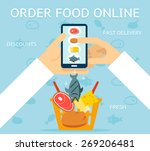 order food online. network and... | Shutterstock .eps vector #269206481