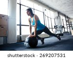 young woman doing exercise with ...   Shutterstock . vector #269207531
