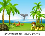 Stock vector scene of the ocean with many sea animals 269219741