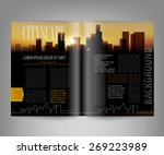 vector template print edition of the magazine with night city | Shutterstock vector #269223989