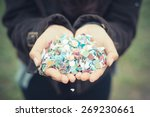close up of woman hands with... | Shutterstock . vector #269230661