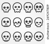 cartoon skull vector icon set | Shutterstock .eps vector #269247809