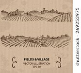 Fields And Village. Hand Drawn...