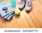 pair of sport shoes and fitness ... | Shutterstock . vector #269263775