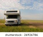 RV alone in the prairie - stock photo