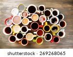 many cups of coffee on wooden... | Shutterstock . vector #269268065
