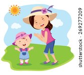 mother and daughter outing ... | Shutterstock .eps vector #269277209