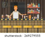 bar counter with stools and...