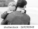 father and daughter walking on... | Shutterstock . vector #269290949