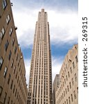 This is a shot of the GE Building, formally the RCA building at Rockefeller Center in New York City. - stock photo