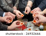 red caviar in hands in the form ... | Shutterstock . vector #26932666