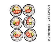 set of sushi on a white... | Shutterstock . vector #269334005