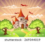fairytale landscape with castle | Shutterstock .eps vector #269344019