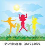 vector happy  young  jumping... | Shutterstock .eps vector #269363501