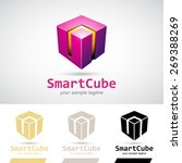 magenta shiny 3d cube logo icon ... | Shutterstock .eps vector #269388269