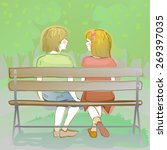 couple of friendly kids sitting ... | Shutterstock .eps vector #269397035