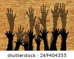 large group of raising hands... | Shutterstock . vector #269404355