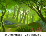 pathway through a dense forest | Shutterstock .eps vector #269408369