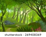Pathway Through A Dense Forest