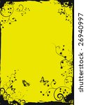 grunge yellow floral frame with ... | Shutterstock .eps vector #26940997