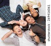 happy multiracial friends...   Shutterstock . vector #269416061