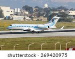 Small photo of Luqa, Malta - April 14, 2015: Libyan Registered Bombardier BD-700-1A11 Global 5000 lining up runway 31 abeam Delta for take off.