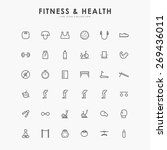 36 fitness and health line icons | Shutterstock .eps vector #269436011