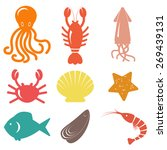 seafood icons. sea life. vector ... | Shutterstock .eps vector #269439131