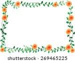 orange rose with leaf border | Shutterstock .eps vector #269465225