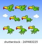 flying happy bird cartoon... | Shutterstock .eps vector #269483225