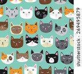 cute cat faces seamless...   Shutterstock .eps vector #269495879