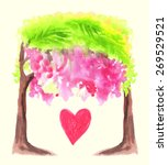 watercolor trees and heart.... | Shutterstock .eps vector #269529521