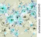 seamless pattern bright flowers ...   Shutterstock . vector #269540945