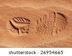 Single Shoe Print In Sand