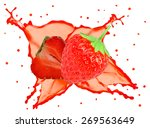 strawberry splash isolated on... | Shutterstock . vector #269563649