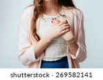 on a gray background young girl ... | Shutterstock . vector #269582141