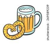 foamy beer and pretzel   Shutterstock .eps vector #269589239