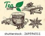set of elements for tea time... | Shutterstock .eps vector #269596511