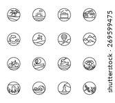 set of thin line icons. travel...