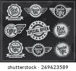 vintage chalkboard sale icons.... | Shutterstock .eps vector #269623589