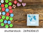 candle with gift box and hearts ... | Shutterstock . vector #269630615
